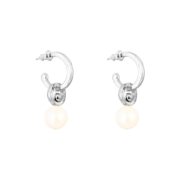 Rock Finders Keepers | Hilton Hoop Earrings | Medium Pearl And Silver Detail | VOULT.COM.AU