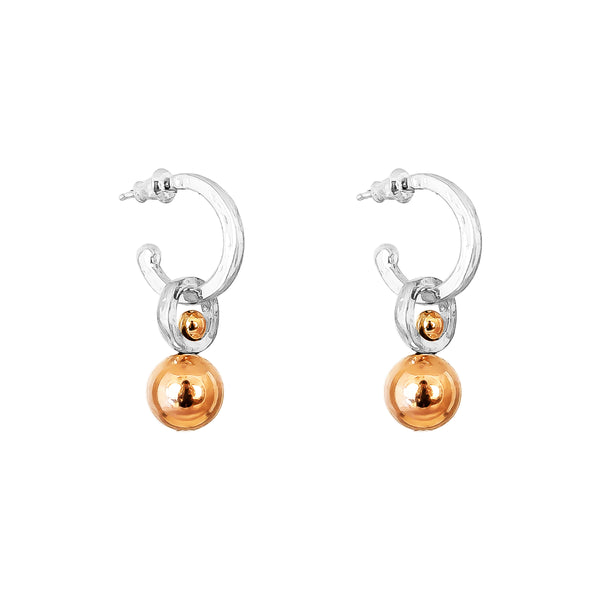 Rock Finders Keepers | Hilton Hoop Earrings | Medium Polished Rose Detail | VOULT.COM.AU