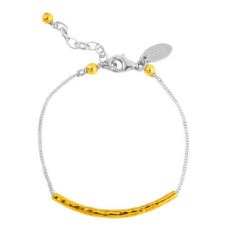 Astra Box Chain Bracelet With Polished Disc | Silver Disc And Gold Detail