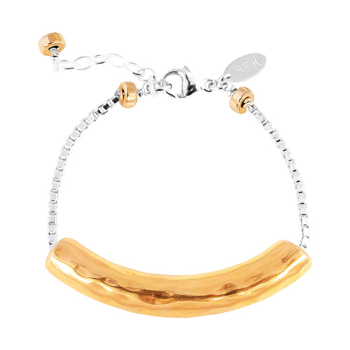 Rock Finders Keepers | Husk Large Hammered Bar Bracelet | Rose Bar And Detail | VOULT.COM.AU