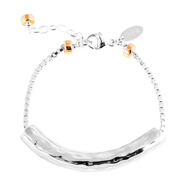 Rock Finders Keepers | Husk Large Hammered Bar Bracelet | Silver Bar And Rose Detail | VOULT.COM.AU