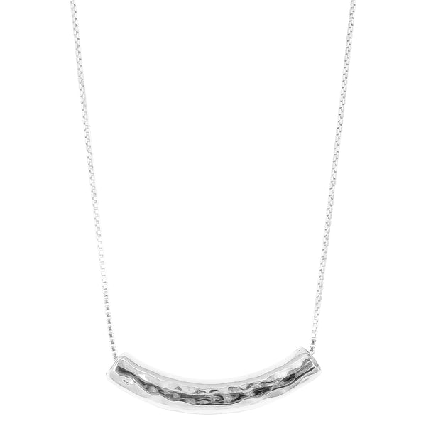 Rock Finders Keepers | Husk Large Hammered Bar Necklace - Long | Silver | VOULT.COM.AU