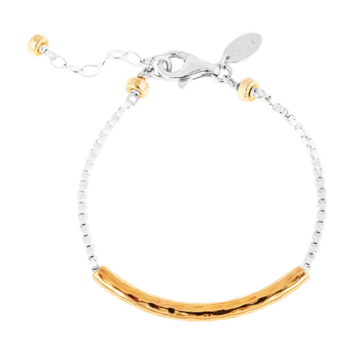 Rock Finders Keepers | Husk Medium Hammered Bar Bracelet | Rose Bar And Detail | VOULT.COM.AU