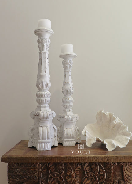 Bohemian White Wash Wooden Pillar Candle Holder
