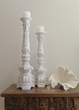 Tall Bohemian White Wash Wooden Pillar Candle Holder