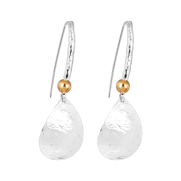 Rock Finders Keepers | Jema Teardrop Earrings With Statement Hook | Silver With Polished Gold Detail | VOULT.COM.AU