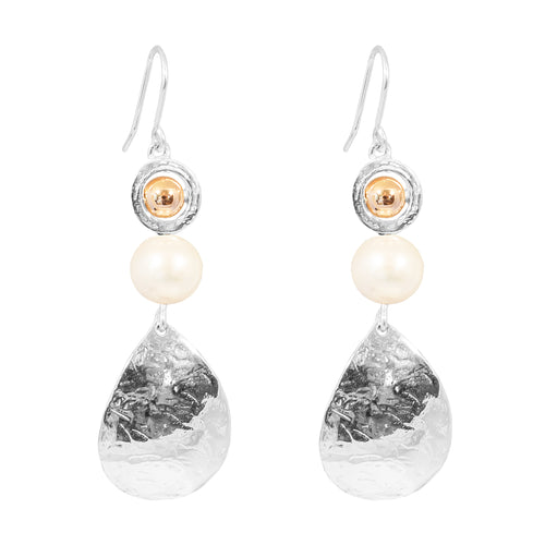 Rock Finders Keepers | Juliana Teardrop Earrings | Polished Rose Detail And Pearl | VOULT.COM.AU