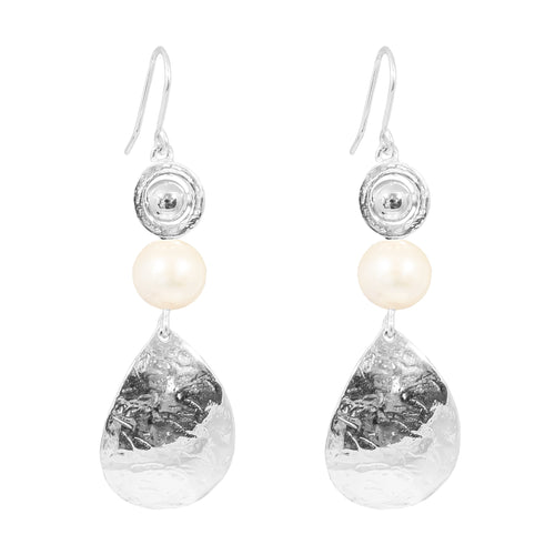 Rock Finders Keepers | Juliana Teardrop Earrings | Polished Silver Detail And Pearl | VOULT.COM.AU