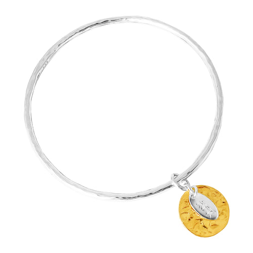 Rock Finders Keepers | Kalinda Fine Bangle | Hammered Gold Disc | VOULT.COM.AU