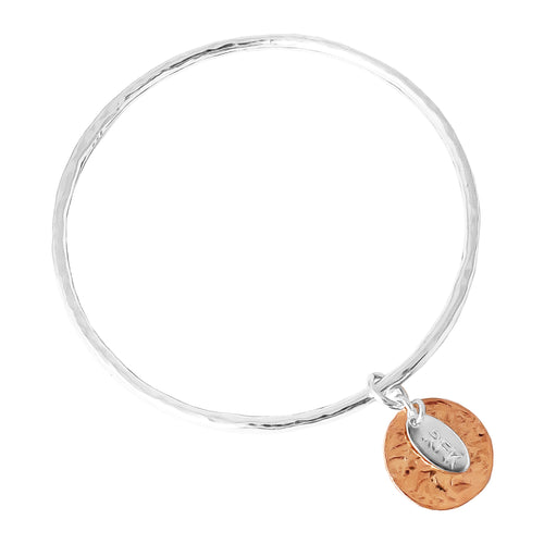 Rock Finders Keepers | Kalinda Fine Bangle | Hammered Rose Disc | VOULT.COM.AU