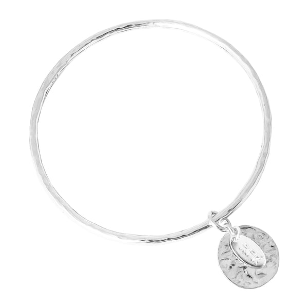 Rock Finders Keepers | Kalinda Fine Bangle | Hammered Silver Disc | VOULT.COM.AU