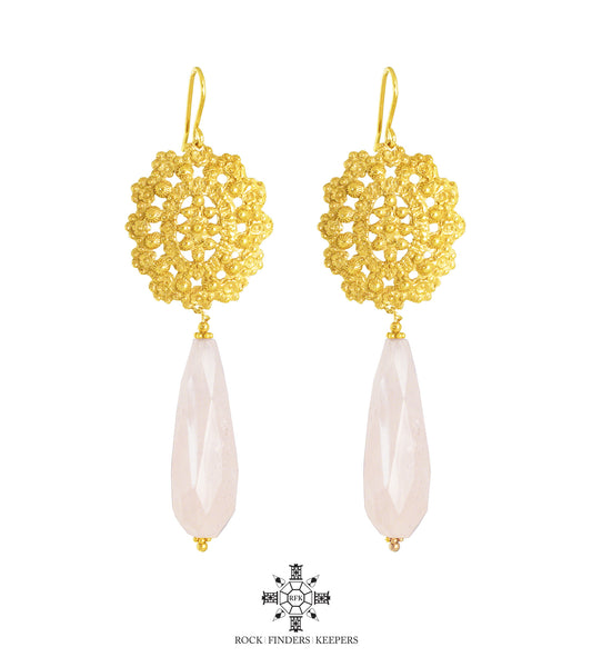 LOTUS INTRICATELY DETAILED EARRINGS | GOLD WITH FACETED ROSE QUARTZ DETAIL
