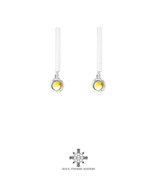 Rock Finders Keepers | Mercury Polished Bar Stud Earrings | Polished Gold Detail | VOULT.COM.AU