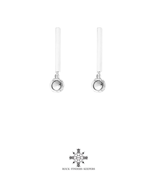Rock Finders Keepers | Mercury Polished Bar Stud Earrings | Polished Silver Detail | VOULT.COM.AU