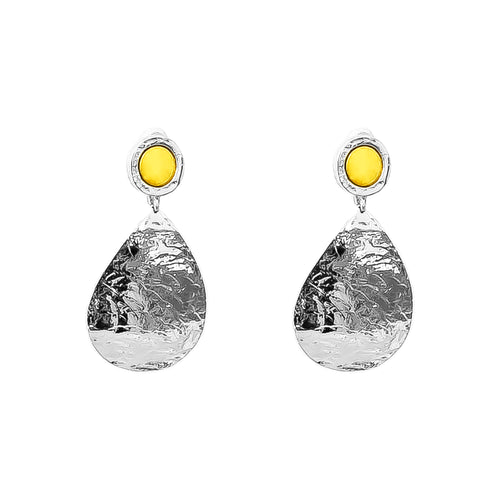 Rock Finders Keepers | Mercury Domed Teardrop Earrings | Polished Gold Detail | VOULT.COM.AU