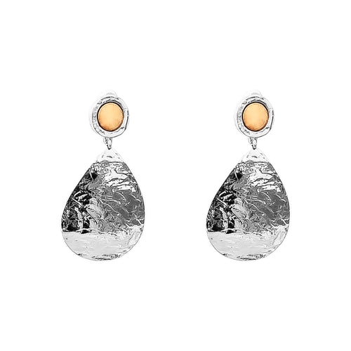 Rock Finders Keepers | Mercury Domed Teardrop Earrings | Polished Rose Detail | VOULT.COM.AU