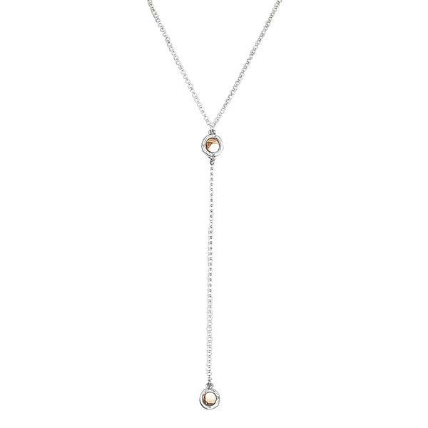 Rock Finders Keepers | Mercury Double Feature Lariet Necklace - Mid | Polished Rose Detail | VOULT.COM.AU