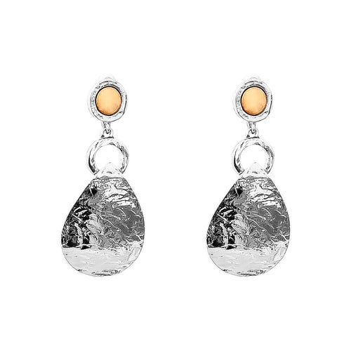 Rock Finders Keepers | Mercury Long Domed Teardrop Earrings | Polished Rose Detail | VOULT.COM.AU