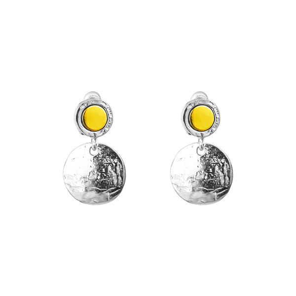 Rock Finders Keepers | Mercury Medium Domed Disc Earrings | Polished Gold Detail | VOULT.COM.AU