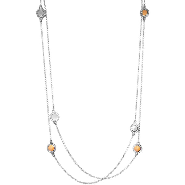 Rock Finders Keepers | Mercury Multi Feature Necklace - Long | Polished Silver And Rose Detail | VOULT.COM.AU