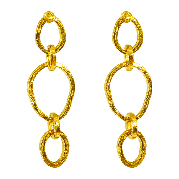 Rock Finders Keepers | Paradis Tri Link Earrings - Gold | VOULT.COM.AU