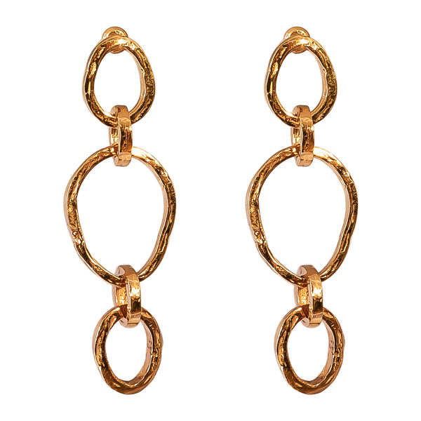 Rock Finders Keepers | Paradis Tri Link Earrings - Rose | VOULT.COM.AU