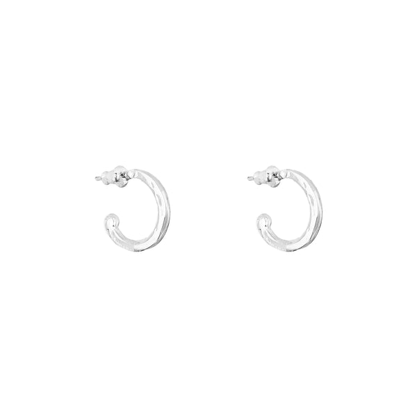 Hilton Hoop Earrings | Large Polished Silver Detail