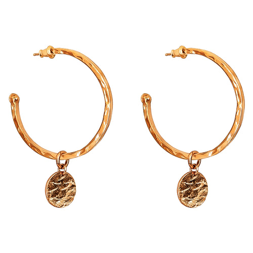 Rock Finders Keepers | Phoenix Large Hoop Earrings With Disc | Rose | VOULT.COM.AU