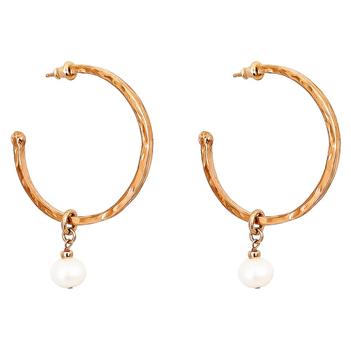 Rock Finders Keepers | Phoenix Large Hoop Earrings With Pearl | Rose | VOULT.COM.AU