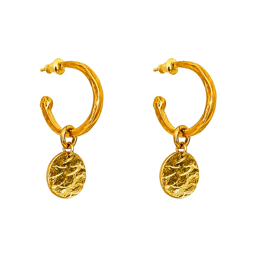 Rock Finders Keepers | Phoenix Medium Hoop Earrings With Disc | Gold | VOULT.COM.AU