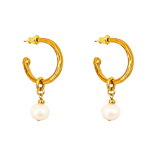 Rock Finders Keepers | Phoenix Medium Hoop Earrings With Pearl | Gold | VOULT.COM.AU