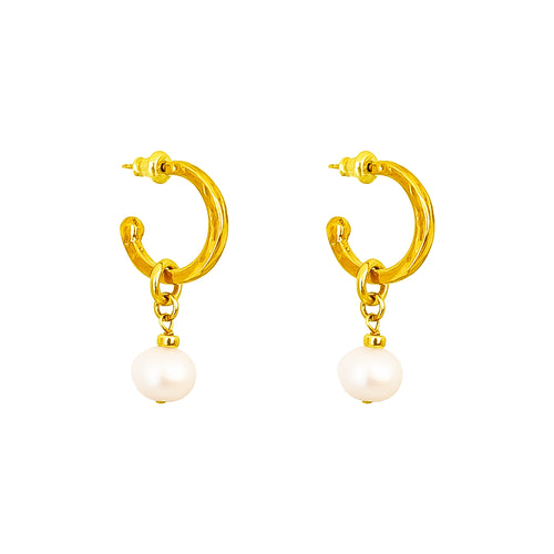 Rock Finders Keepers | Phoenix Small Hoop Earrings With Pearl | Gold | VOULT.COM.AU