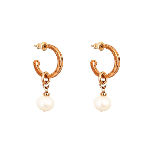 Rock Finders Keepers | Phoenix Small Hoop Earrings With Pearl | Rose | VOULT.COM.AU