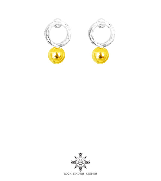 Rock Finders Keepers | Radison Medium Feature Stud Earrings | Polished Gold Detail | VOULT.COM.AU