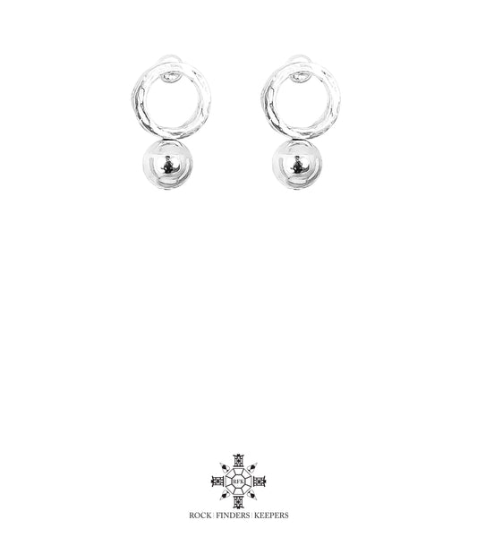 Rock Finders Keepers | Radison Medium Feature Stud Earrings | Polished Silver Detail | VOULT.COM.AU