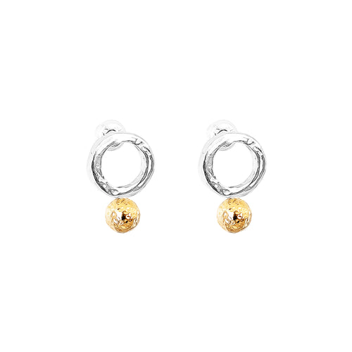 Rock Finders Keepers | Radison Fine Feature Stud Earrings | Hammered Rose Detail | VOULT.COM.AU