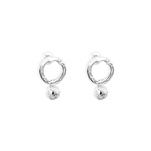 Rock Finders Keepers | Radison Fine Feature Stud Earrings | Hammered Silver Detail | VOULT.COM.AU
