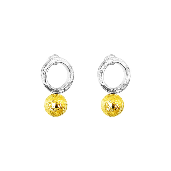 Rock Finders Keepers | Radison Large Feature Stud Earrings | Hammered Gold Detail | VOULT.COM.AU