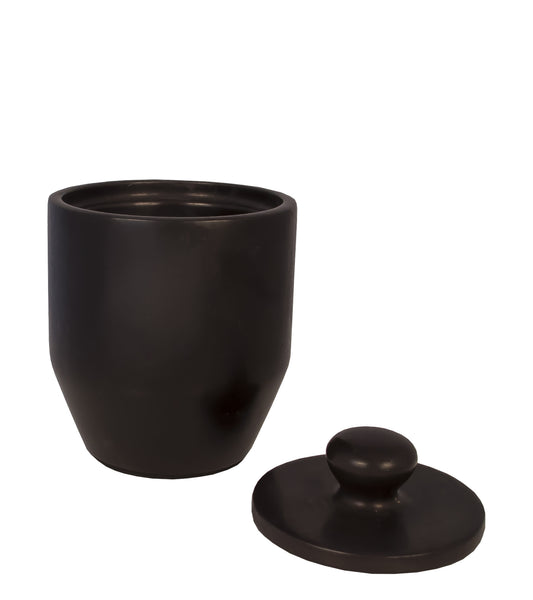 BLACK MARBLE CANISTER WITH LID