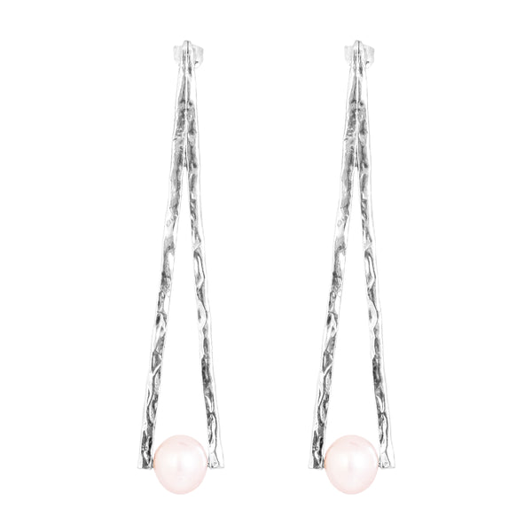 Valance Earrings | Silver With Pearl Detail