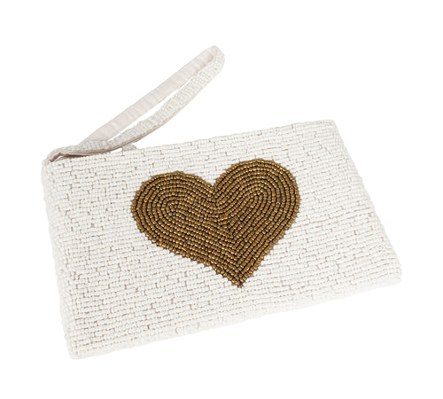 HAND BEADED WHITE AND GOLD CLUTCH