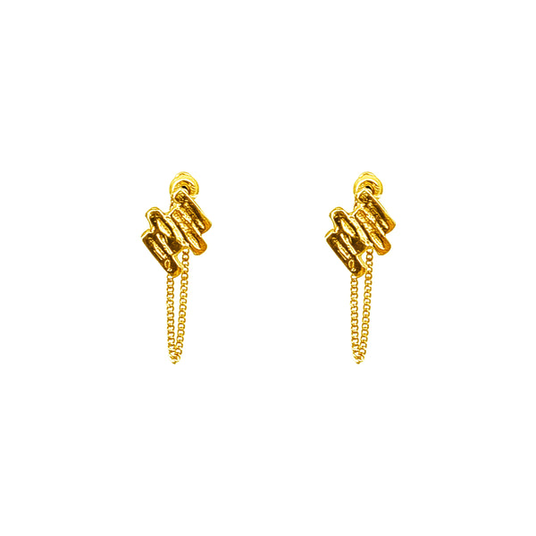 Rock Finders Keepers | Zaine Stud Earrings With Chain | Gold | VOULT.COM.AU