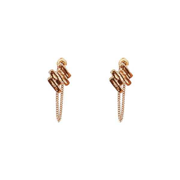 Rock Finders Keepers | Zaine Stud Earrings With Chain | Rose | VOULT.COM.AU