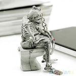 Skeleton on the Toilet Keychain - DriftOwl