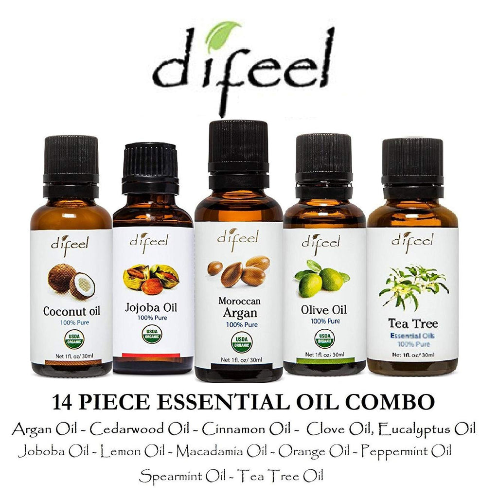 Difeel Natural Essential Oils Complete Collection: 14 Piece Combo Set
