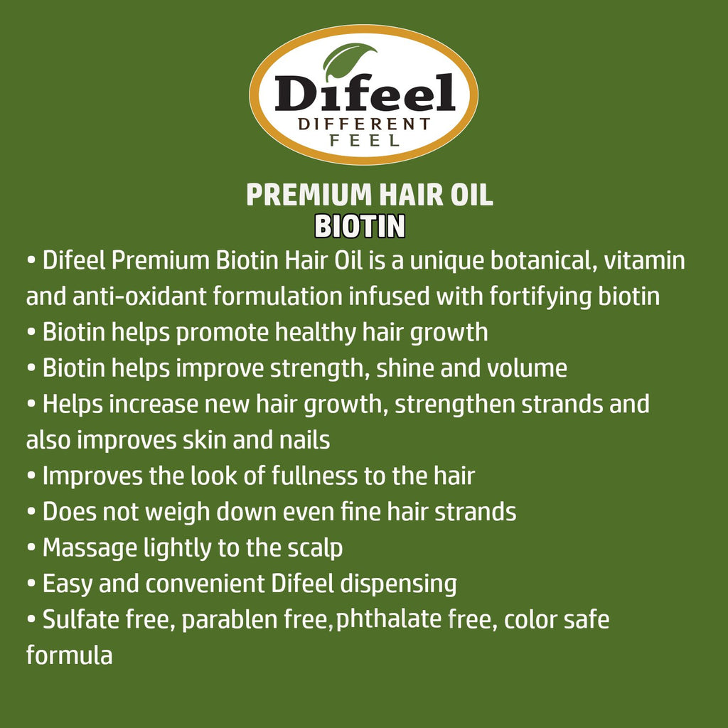 Difeel 99% Natural Premium Hair Oil - Biotin Oil 7.78 oz. (PACK OF 2)