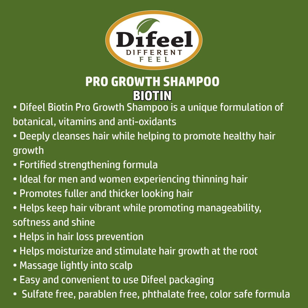 Difeel Pro-Growth Biotin Shampoo 33.8 oz. (Pack of 2)
