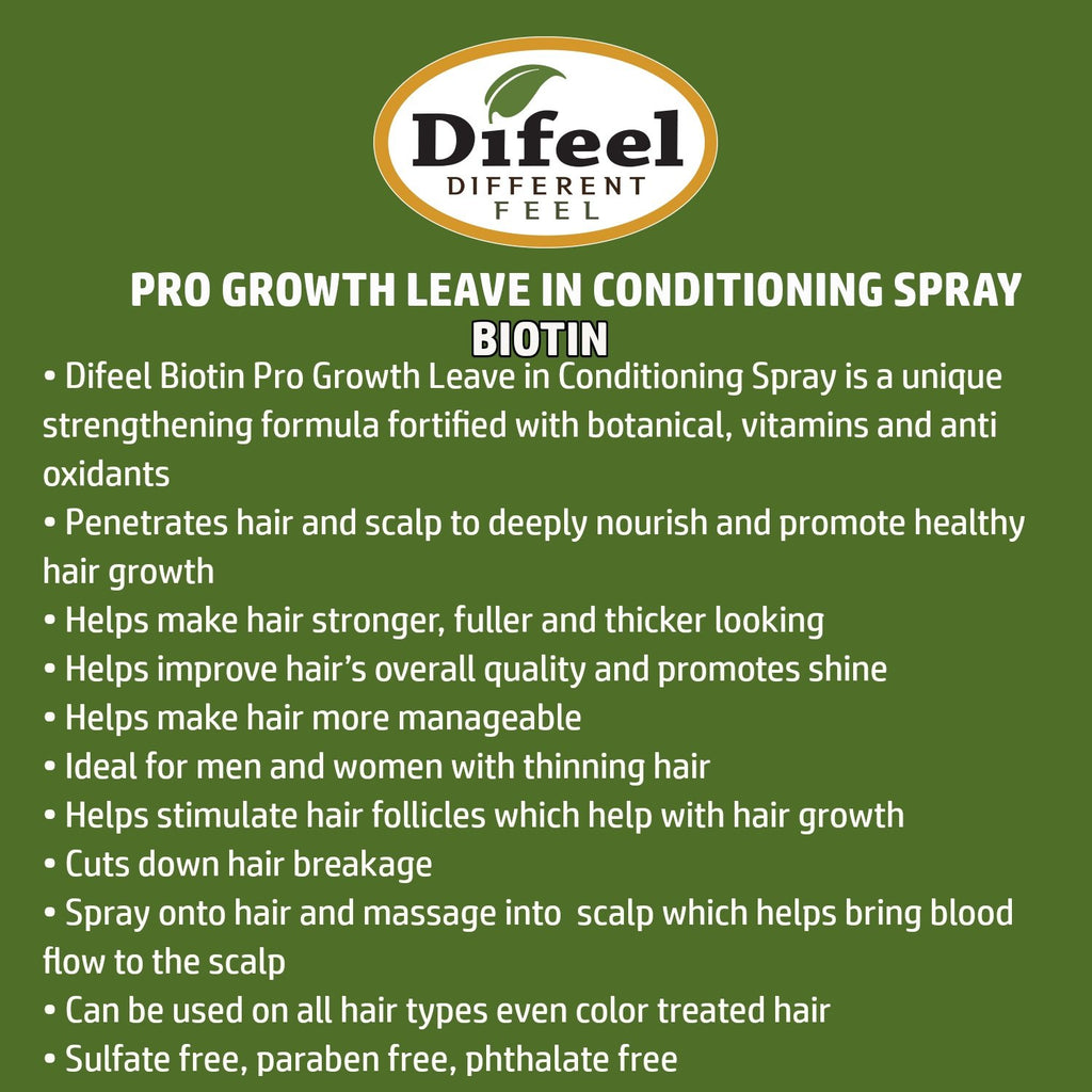 Difeel Pro-Growth Biotin Leave in Conditioning Spray 6 oz.  (PACK OF 2)