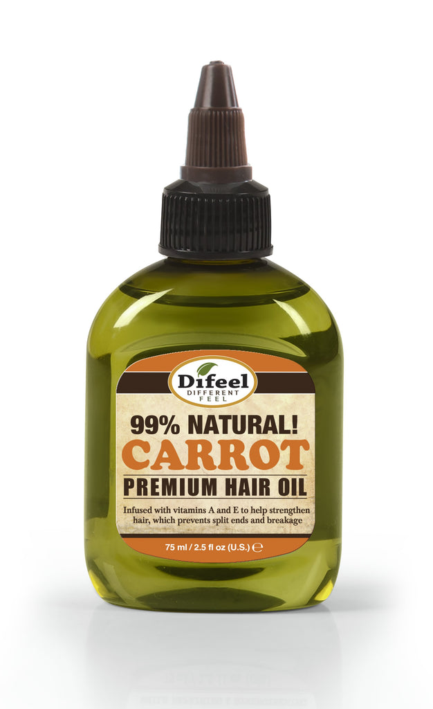 Difeel Premium Natural Hair Oil - Carrot Oil with Vitamins A & E 2.5 oz. (PACK OF 2)
