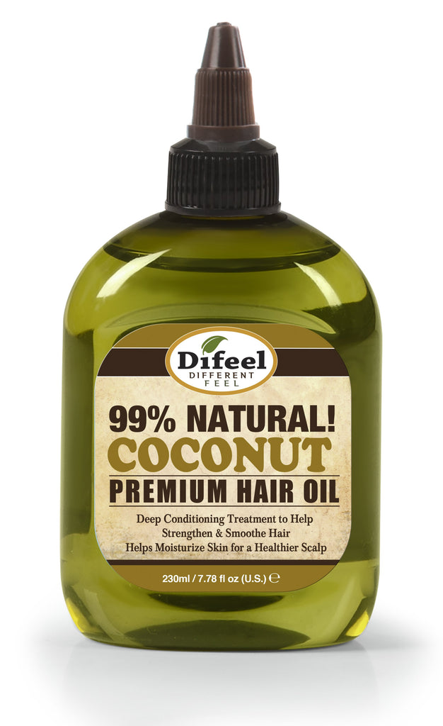 Difeel Premium Natural Hair Oil - Coconut Oil 8 oz. (PACK OF 2)